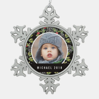 Christmas | Merry Christmas - Holly Black Pattern Snowflake Pewter Christmas Ornament