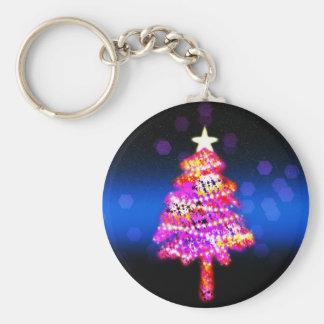 Christmas Merry Holiday Tree Ornaments celebration Basic Round Button Key Ring