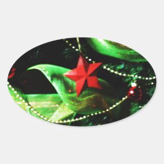 Christmas Merry Holiday Tree Ornaments celebration Oval Sticker