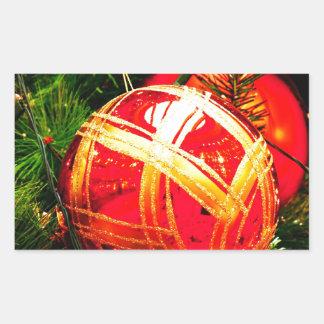 Christmas Merry Holiday Tree Ornaments celebration Rectangular Sticker