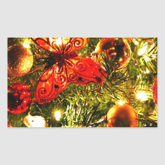 Christmas Merry Holiday Tree Ornaments celebration Rectangular Sticker