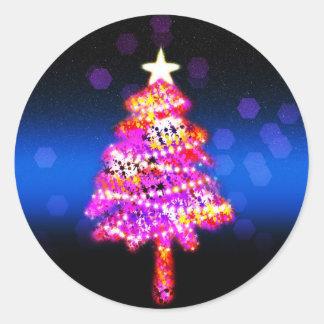 Christmas Merry Holiday Tree Ornaments celebration Round Sticker