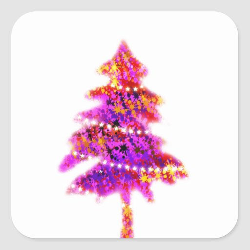 Christmas Merry Holiday Tree Ornaments celebration Square Stickers