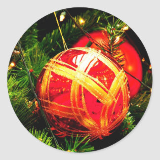 Christmas Merry Holiday Tree Ornaments celebration Round Sticker