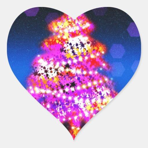 Christmas Merry Holiday Tree Ornaments celebration Heart Sticker