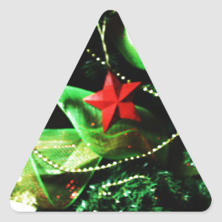 Christmas Merry Holiday Tree Ornaments celebration Triangle Sticker