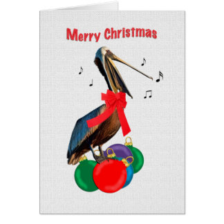 Christmas, Merry, Pelican Singing Card