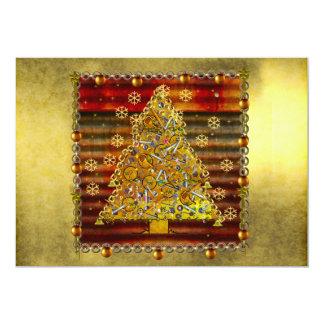 Christmas Metal Tree 13 Cm X 18 Cm Invitation Card
