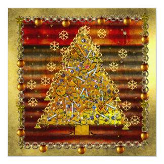 "Christmas Metal Tree 5.25"" Square Invitation Card"