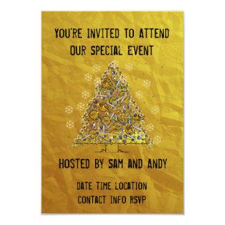 "Christmas Metal Tree 3.5"" X 5"" Invitation Card"