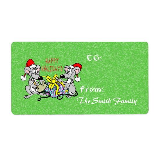 Christmas Mice Gift Tag (large) Shipping Label