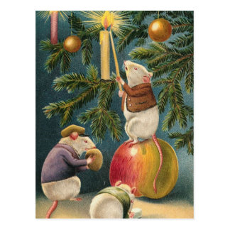 Christmas Mice Vintage Postcard