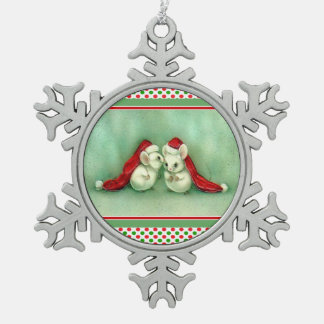 Christmas Mice with a Secret Red Green Ornament