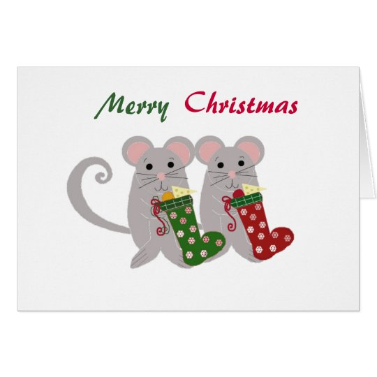 Christmas Mice with Stockings Card