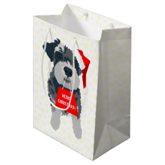 Christmas Mini Schnauzer Dog Santa Hat Gift Bag