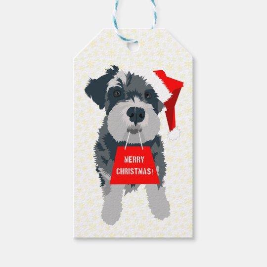 Christmas Mini Schnauzer Dog Santa Hat Gift Tags