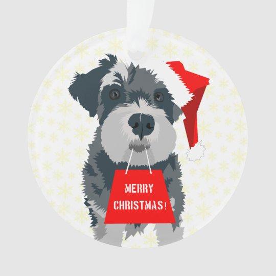 Christmas Mini Schnauzer Dog Santa Hat Ornament