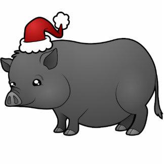 Christmas Miniature Pig Photo Sculpture Decoration