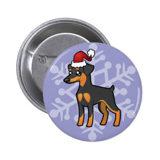 Christmas Miniature Pinscher / Manchester Terrier 6 Cm Round Badge