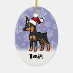 Christmas Miniature Pinscher / Manchester Terrier Ceramic Oval Decoration