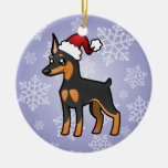 Christmas Miniature Pinscher / Manchester Terrier Round Ceramic Decoration