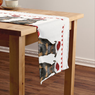 Christmas Miniature Pinscher puppies Short Table Runner