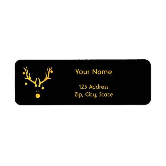 Christmas minimalist modern reindeer gold black return address label