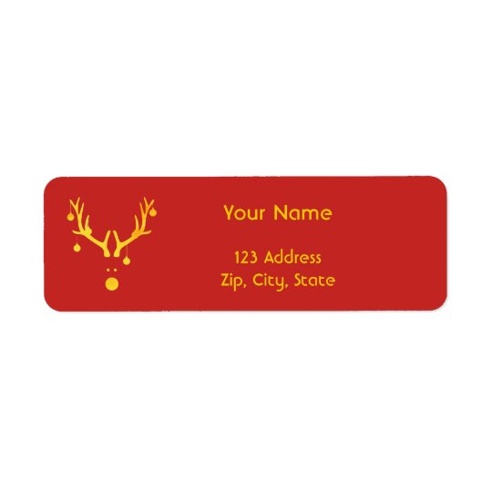 Christmas minimalist modern reindeer gold red return address label