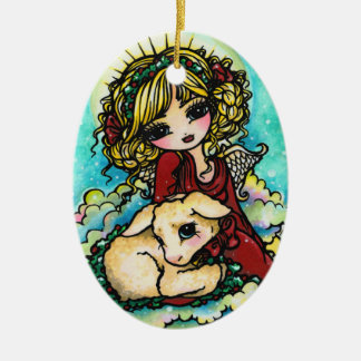 Christmas Miracle Angel Art by Hannah Lynn Ceramic Oval Decoration