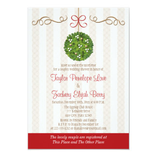 CHRISTMAS MISTLETOE COUPLES WEDDING SHOWER CARD