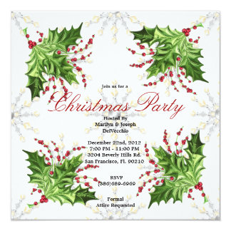 Christmas Mistletoe Holiday Party Invite