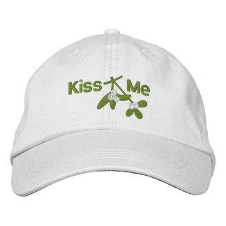 Christmas Mistletoe Kiss Me Embroidered Hats