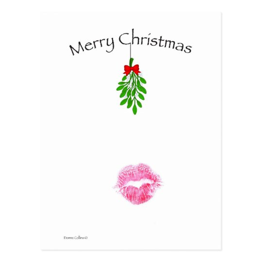 Christmas Mistletoe Kiss Postcard