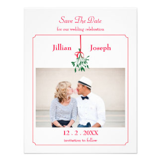 Christmas Mistletoe Photo Save The Date Card Invitations