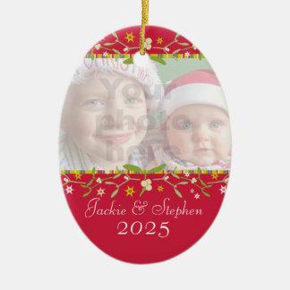 Christmas mistletoe red ornament own photo