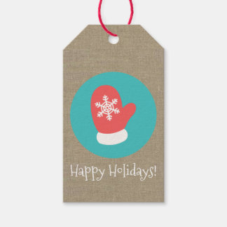 Christmas Mitten Medallion Happy Holidays Gift Tags