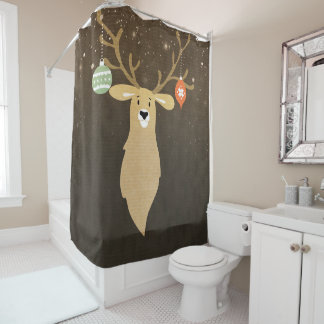 Christmas Modern Rustic Winter Deer Holiday Chic Shower Curtain