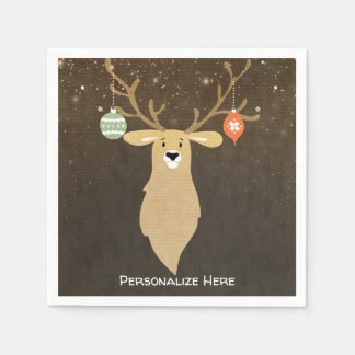 Christmas Modern Rustic Winter Deer Holiday Party Disposable Napkin