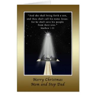Christmas Mom and Step Dad Religious Card