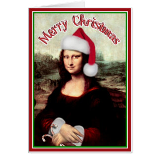 Christmas Mona Lisa With Santa Hat Card