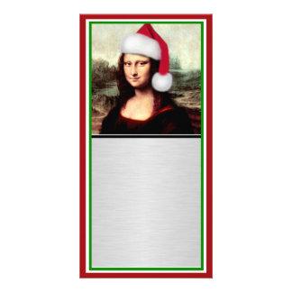 Christmas Mona Lisa With Santa Hat Photo Greeting Card