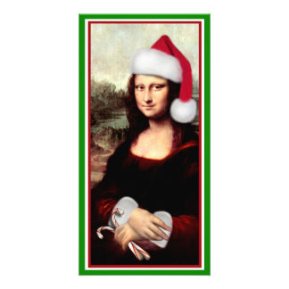 Christmas Mona Lisa With Santa Hat Personalised Photo Card