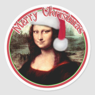Christmas Mona Lisa With Santa Hat Round Sticker