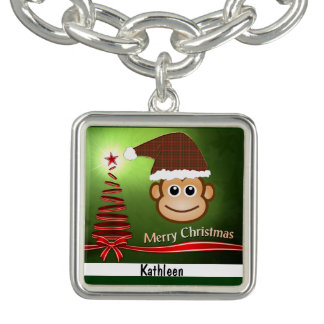 Christmas Monkey Charm Bracelet