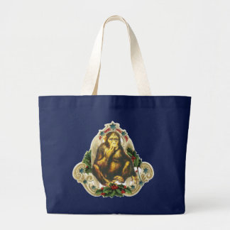 Christmas monkey large tote bag