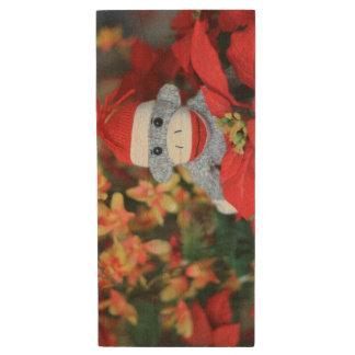 Christmas Monkey Wood USB 2.0 Flash Drive