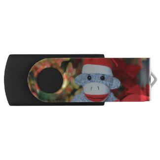 Christmas Monkey Swivel USB 2.0 Flash Drive