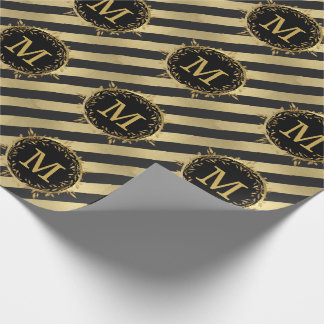 Christmas Monogram Holiday Wreath Faux Gold Foil Wrapping Paper