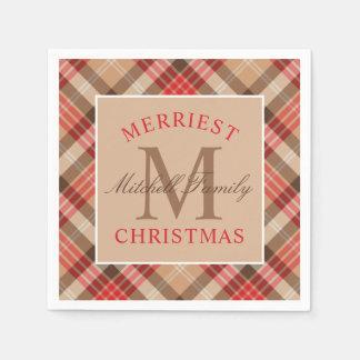 Christmas Monogram | Plaid Holiday Paper Serviettes