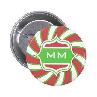 Christmas Monogram Retro Spiral Green Red Pins